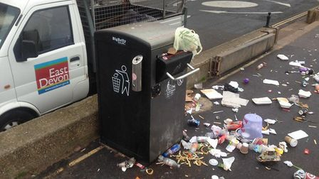 The bins after the bank holiday weekend.