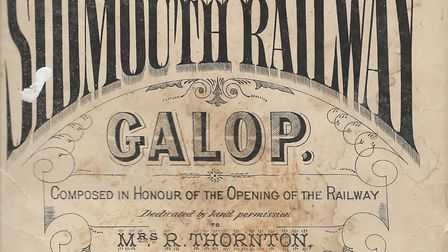 The original front page of the Sidmouth Railway Galop music sheet, which was composed by WW Moore an