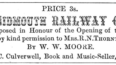 An advert for the Sidmouth Railway Galop sheet music in this newspaper