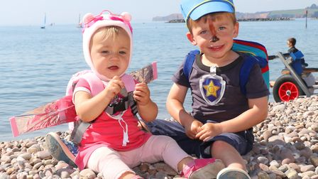 Siblings Olivia & Charlie Retter aged 11 months and 3 years won first prize in the Sidmouth Regatta