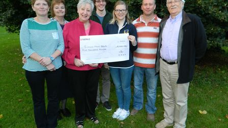 SADs donates £5,000 to Sidmouth Town Band. Left to Right ; Fiona Harvey, Heather Hodge (chairman- SA