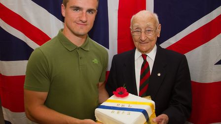Marine Sam White with George Bastone at the launch of Beer's Royal British Legion. Ref shb 34 17TI 9