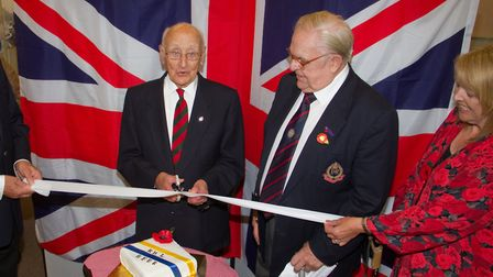 George Bastone cuts the ribbon at the launch of Beer's Royal British Legion. Ref shb 34 17TI 9504. P