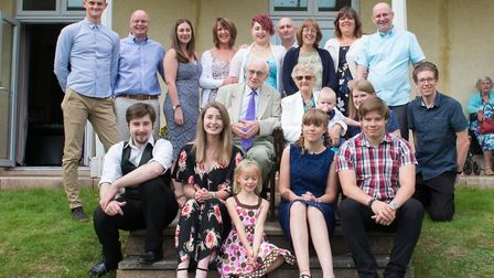 Ernest and Dorothy Bathurst with four generations of their family at Knowle in Sidmouth to mark thei