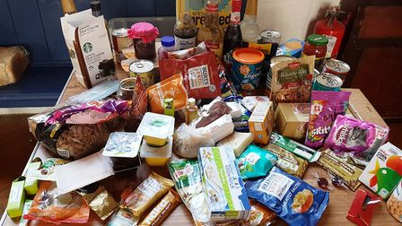 Some of the unsuitable donations to the Sid Valley Food Bank last Friday