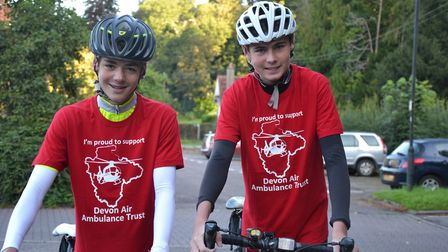 Aidan Pearcy and Jack Dallyn battled punctures and rain to raise money for the Devon Air Ambulance.