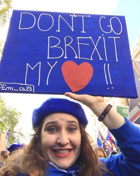 Émilie Ancelin on the People's Vote March. Photograph: Twitter.