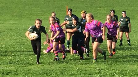 Sidmouth Under-13 girls rugby action