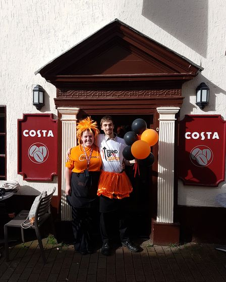 Kate Broderick and Alex Ritchie from Sidmouth's Costa supported the Stand up to Cancer campaign