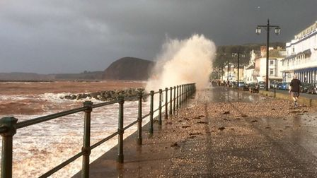 Storm Brian battering Sidmouth. Photo: Julia Bramble