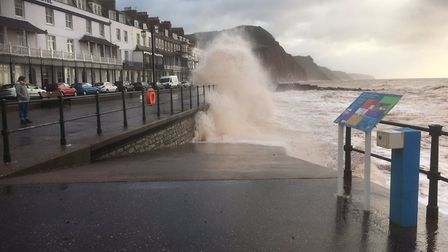 Storm Brian causing large waves at Sidmouth seafront. Photo: Paulie Buckers