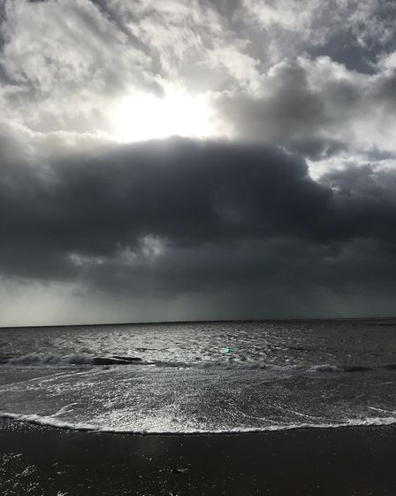 Dark skies over Exmouth as Storm Brian hits. Photo: Kate Evans