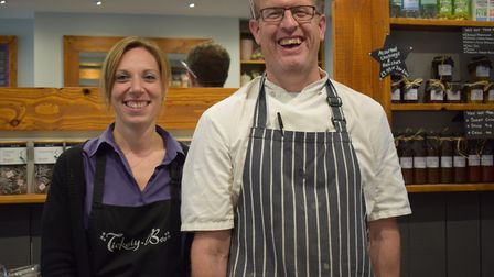 Front of house Zoe Blackmore and Head Chef Dave Goldthorpe celebrate Tickety-Boo reaching the final