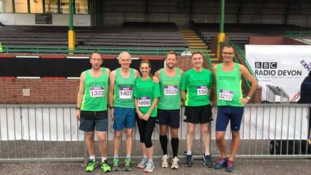 Sidmouth Running Cluib members at the Great West Run