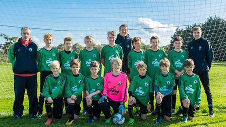 Sidmouth Raiders Under-13 team before the start of a new season of Exeter and District Youth League