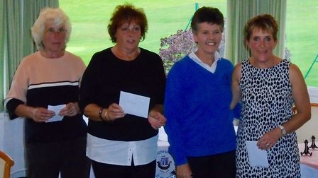 The winners with their prizes after a successful Sidmouth Golf Club ladies Invitation Day meeting