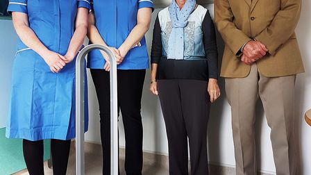 Nurses Gill Glass and Glynis Phillips with comforts fund vice president Frances Newth and chairman G