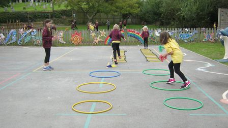 The pupils work up a sweat during sports week.