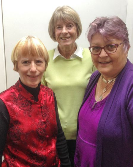 Linda Williams, Anna Sutherland and Janet Dowling from the coaching group at SidMouth StoryNights