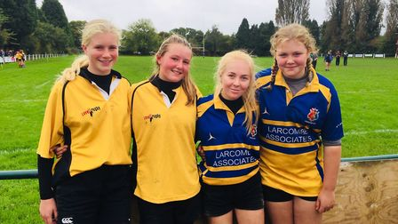 The four Sidmouth girls Under-15 players who attended Devon trials