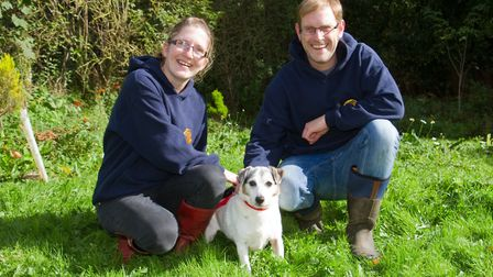 Guy Scott and Hannah Curtis of ARC in Ottery with Sherman the Jack Russell. Ref sho 40 17TI 1831. Pi