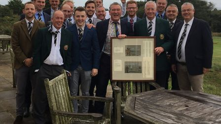 The successful (and very happy looking) Sidmouth Golf Club team with club captain Richard Powell, ho