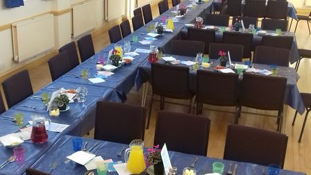 The tables were set at the parents' night off event