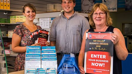 Sidmouth Print's Hayley Otway, Kyle Baker and Tracey Millar. Photo by KB Photography
