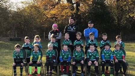 Sidmouth Under-9s with coaches Sarah Burston, Matt Barrett and parent helper Andy Richie. Picture: C