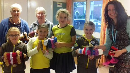 Admiral Nurse Heidi Crook (right) with members of the 1st Sidmouth Brownies and Sidmouth Women's Ins