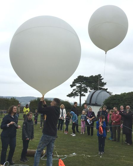 Inflating weather balloons at the Norman Lockyer Observatory as part of Sidmouth Science Festival