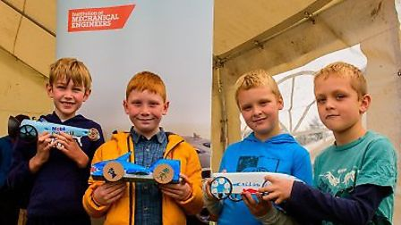 The winners of a jet car race at Sidmouth Science Festival. Photo by Andrew Winterbottom