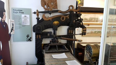 Jimmy Hall donated this printing press to Sidmouth Museum in 1970 after it stopped being used to mak