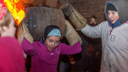 Ottery St. Mary Tar Barrel night - Ladies' barrels. Picture: Anthony Rowe LRPS.