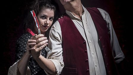 Emma Williams as Mrs Lovett and Mike Hamilton as Sweeney Todd. Credit: Lewis Law