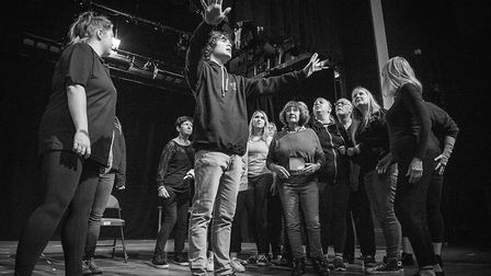 The cast of Sweeney Todd in rehearsals. Credit: Lewis Law
