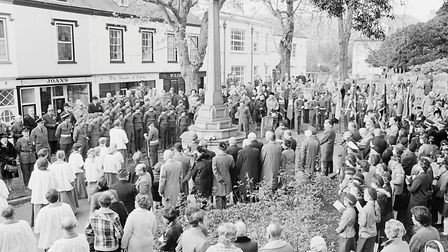 Sidmouth Remembrance day service. Ref shs Remembrance day Nost 1980. Picture: Sidmouth Herald archiv