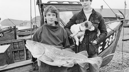 The Bagwell boys with their 25lb cod catch. Ref shs Bagwell catch Nost 1980. Picture: Sidmouth Heral