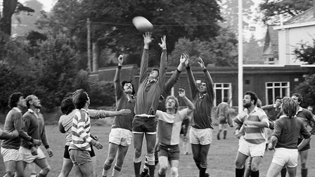 The Sidmouth Rugby Club trial match. Ref shs Sid RFC trials Nost 1980-1. Picture: Sidmouth Herald ar