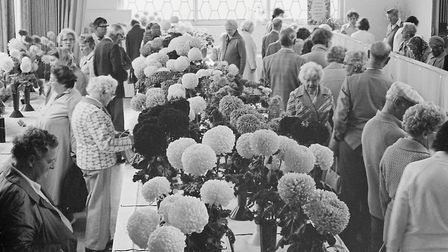 Sidmouth gardening club's flower and veg show. Ref shs Sid Flower show Nost 1980. Picture: Sidmouth