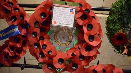 The wreath laid to remember Frank Sowden at the Menin Gate ceremony