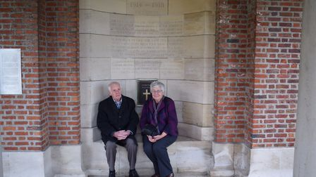 Frank Sowden's grandson David and his wife Rosemary at Hooge Crater Commonwealth War Grave near Ypre