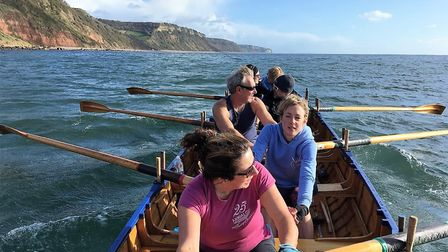Sidmouth gig crew on their way to Lyme Regis