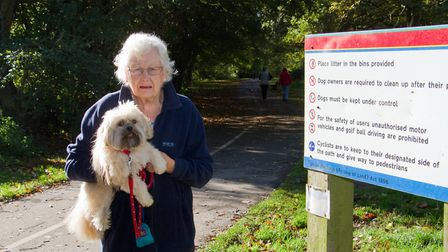 Rita Hughes with her dog Mitzi. Ref shs 45 17TI 3480. Picture: Terry Ife
