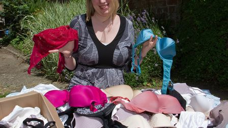 Rae Syder is supporting bras not bombs. Ref sho 27 17TI 6612. Picture: Terry Ife