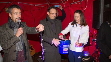 Scenes from last year's switch on where Olympian Jo Pavey turned on the Sidmouth christmas lights. R