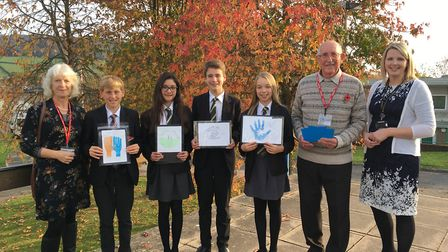 Di Fuller chairman of Sid Valley Help with pupils George Manley, Rio Bourne, George Chapman and Geor