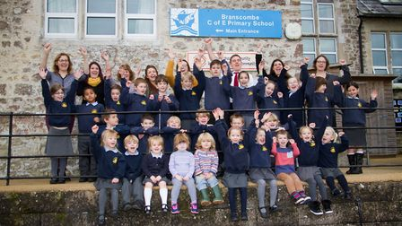 Branscombe primary school celebrate their good Ofsted report. Ref shb 47 17TI 3572. Picture: Terry I