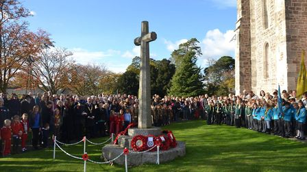 Larges crowds gather for Remembrance Sunday at Ottery Parish Church. Credit: Phyllis Baxter