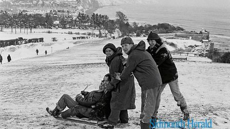Sidmouth freezes after snow fell in January, 1979. Ref shs Snow in Sidmouth Nost 1979. Picture: Sidm